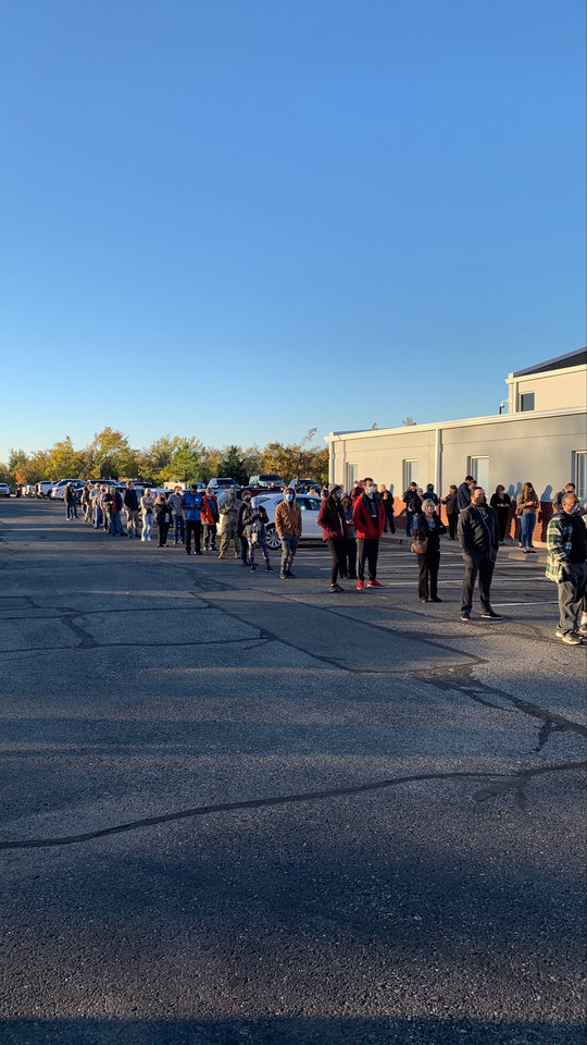 Photo - Voters line up Nov. 3, 2020, at Edmond Trinity Lutheran Church in Edmond, Okla. Photo by Don Mecoy