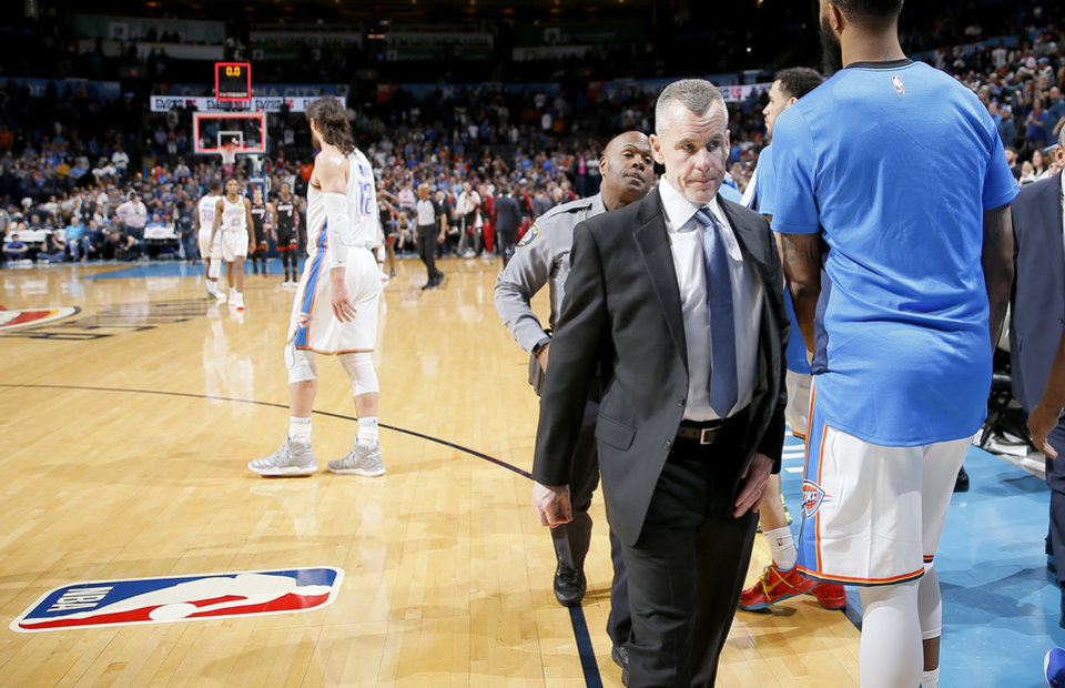 Photo - Oklahoma City coach Billy Donovan walks off the court after an NBA basketball game between the Oklahoma City Thunder and the Miami Heat at Chesapeake Energy Arena in Oklahoma City, Monday, March 18, 2019. Miami won 116-107. Photo by Bryan Terry, The Oklahoman