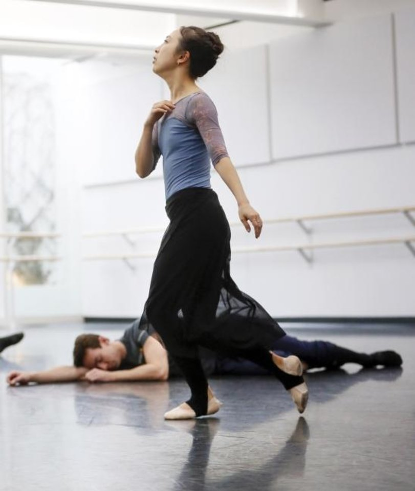 Photo -  Principal dancers DaYoung Jung, front, and Alvin Tovstogray rehearse on Jan. 30 for
