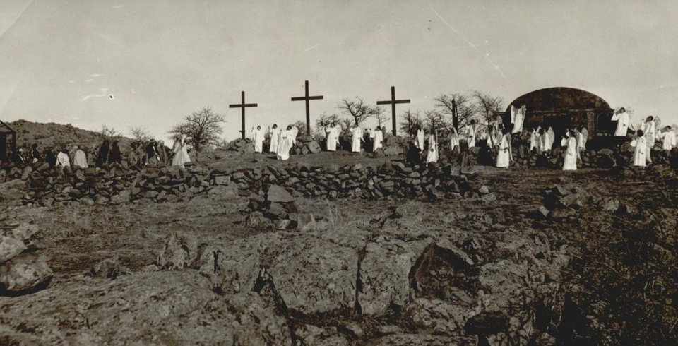 Photo - EASTER, PAGEANT / WICHITA MOUNTAINS: UNKNOWN: Caption reads, Easter Pageant- Wichita Mountains Staff Photo by OPC. Original Photo 03/24/1932. Published on UNKNOWN.
