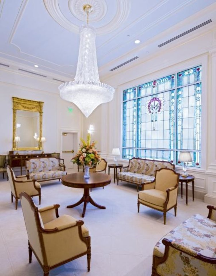 Photo -  The Celestial Room inside the new Oklahoma City temple for The Church of Jesus Christ of Latter-Day Saints in Oklahoma City, Okla.   Photo Provided