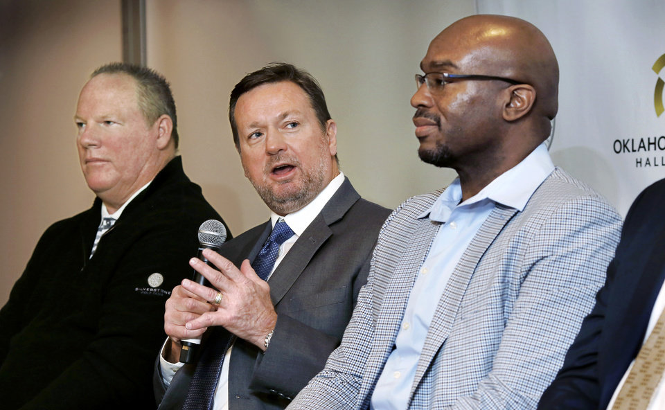 Photo - The Oklahoma Sports Hall of Fame Induction Class of 2019 was introduced Tuesday, Feb. 19, 2019, at the organization's leadership luncheon at the Jeaneen and Bob Naifeh Family & Bud Wilkinson Event Center.  From left are Mickey Tettleton, Bob Stoops and Will Shields. Also present, but not pictured, are Mike Moore, Patty Gasso and Kendall Cross. Inductee Lou Henson was unable to be present at the luncheon. Photo by Jim Beckel, The Oklahoman.