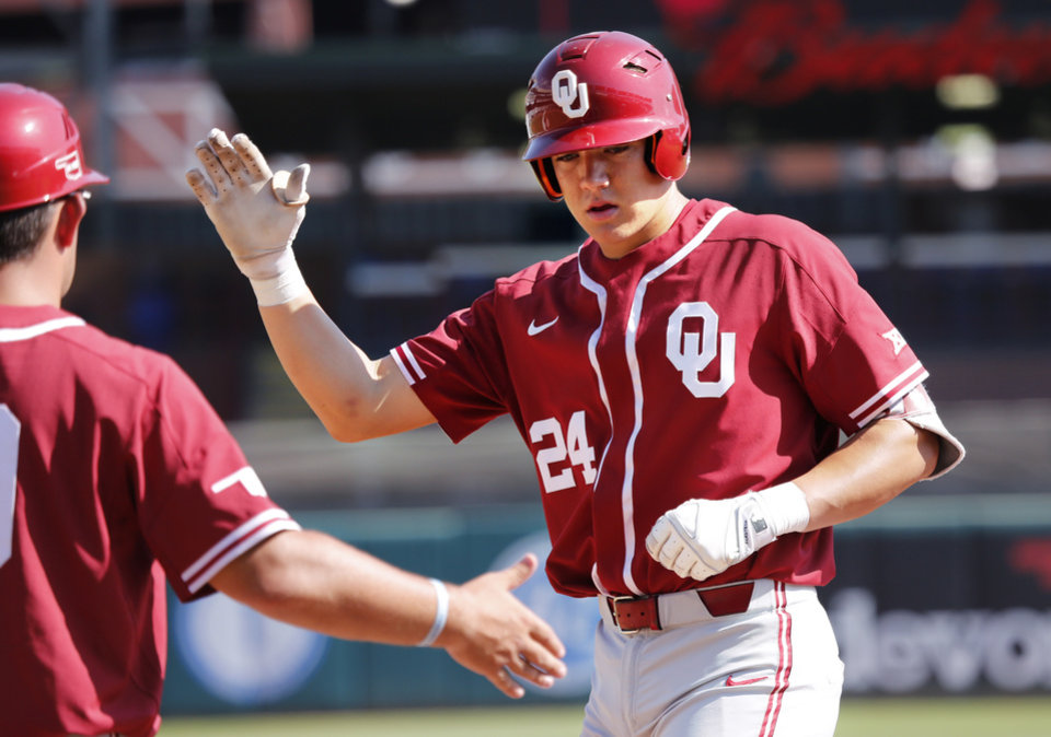 Oklahoma infielder Cade Cavalli is congratulated on a hit as the University  of Oklahoma Sooners (OU) play the University of Texas Longhorns (UT) in the  Big ... 7ad69e86e