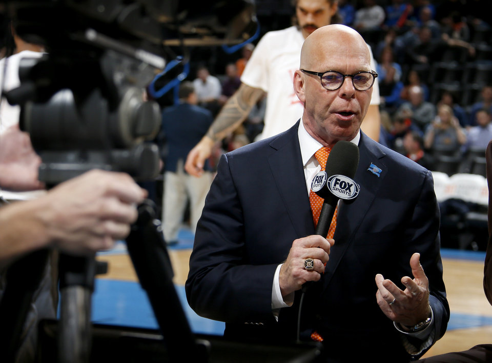 Photo - Oklahoma City Thunder TV play-by-play announcer Brian Davis before an NBA basketball game between the Oklahoma City Thunder and the Charlotte Hornets  at Chesapeake Energy Arena, Wednesday, Jan. 20, 2016. Photo by Bryan Terry, The Oklahoman