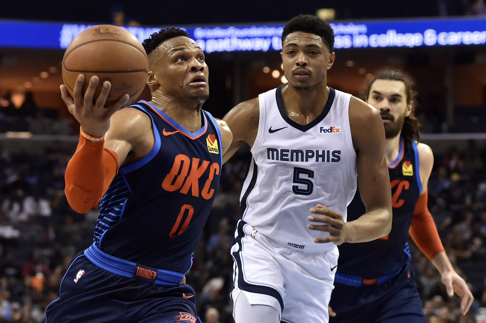 Photo - Oklahoma City Thunder guard Russell Westbrook (0) drives against Memphis Grizzlies forward Bruno Caboclo (5) during the second half of an NBA basketball game Monday, March 25, 2019, in Memphis, Tenn. (AP Photo/Brandon Dill)
