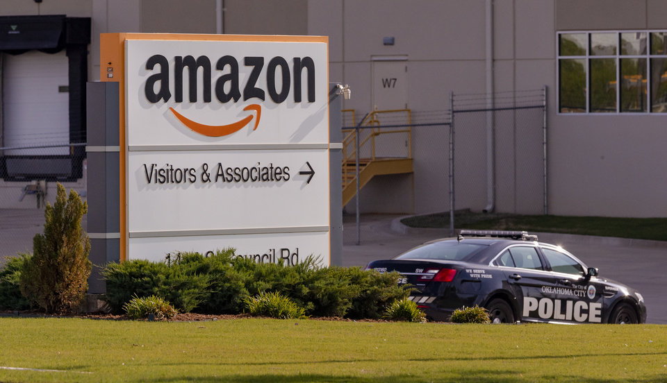 Photo -  Police were called to the Amazon warehouse at 1414 S Council Road in Oklahoma City after a shooting involving two suspects. [Chris Landsberger/The Oklahoman]
