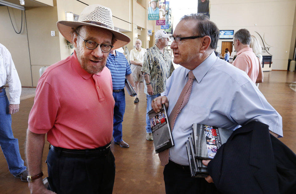 Photo - Al Eschbach, and Bob Burke arrive to speak during Mickey Mantle Day at The History Center on Thursday, July 7, 2016 in Oklahoma City, Okla.  Photo by Steve Sisney, The Oklahoman