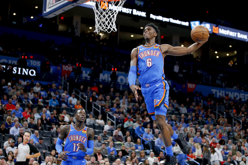 Photo - Oklahoma City's Hamidou Diallo (6) goes up for a dunk during an NBA basketball game between the Oklahoma City Thunder and the New Orleans Pelicans at Chesapeake Energy Arena in Oklahoma City, Saturday, Nov. 2, 2019.  [Bryan Terry/The Oklahoman]