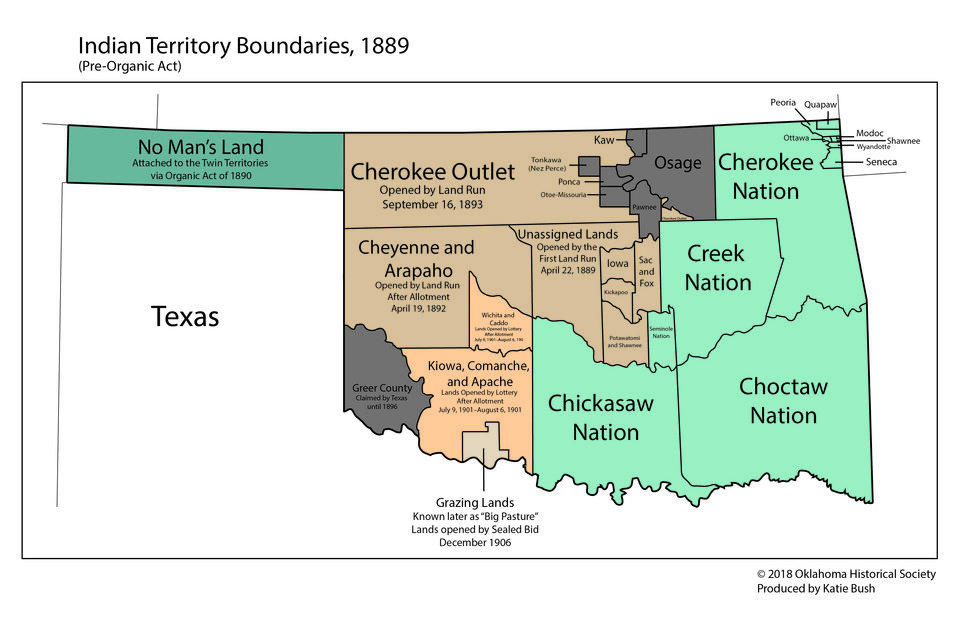 Photo -  A map of Indian Territory and Oklahoma Territory in 1889 from