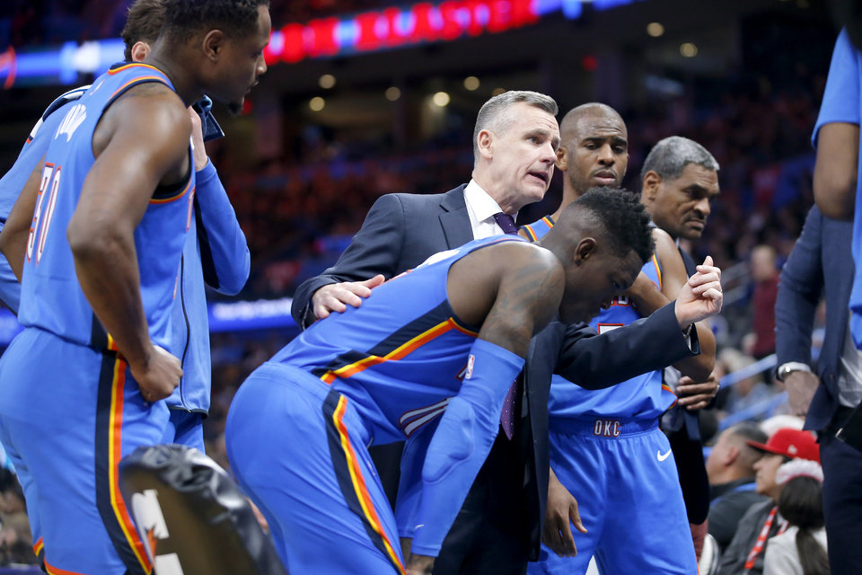 Photo - Oklahoma City coach Billy Donovan talks with the team during a timeout in an NBA basketball game between the Oklahoma City Thunder and the Miami Heat at Chesapeake Energy Arena in Oklahoma City, Friday, Jan. 17, 2020. Oklahoma State lost 76-64. Oklahoma City lost 115-108. [Bryan Terry/The Oklahoman]