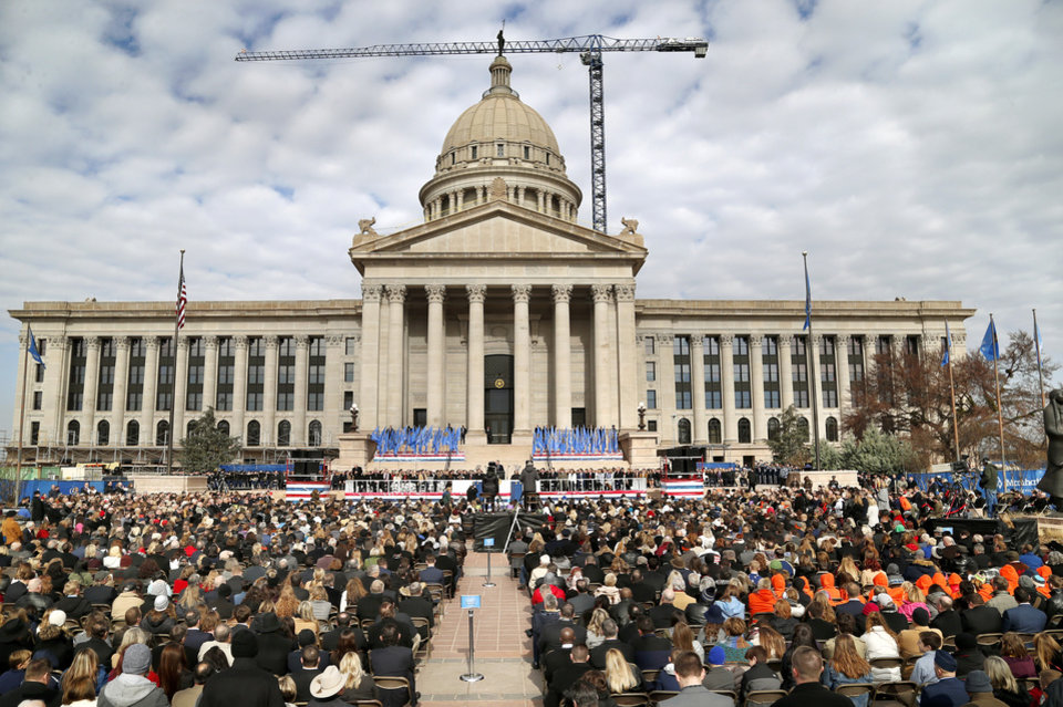 Photo - A large crowd attend inauguration ceremony to see Gov. Kevin Stitt sworn in as Oklahoma's 28th governor by Supreme Court Chief Justice Noma Gurich on Monday, Jan. 14, 2019. Photo by Jim Beckel, The Oklahoman.