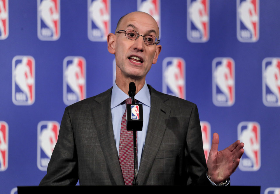 Photo - FILE - In this Sept. 28, 2017 file photo, NBA Commissioner Adam Silver speaks during a news conference in New York.   Chicago will host the 2020 All-Star game for the first time since 1988, when Michael Jordan took off from the foul line in an epic dunk contest and delivered an MVP performance in the game.  Silver, Mayor Rahm Emanuel and Bulls executives Michael Reinsdorf and John Paxson were on hand Friday, Nov. 10 for the announcement on the United Center floor.(AP Photo/Julie Jacobson, File)