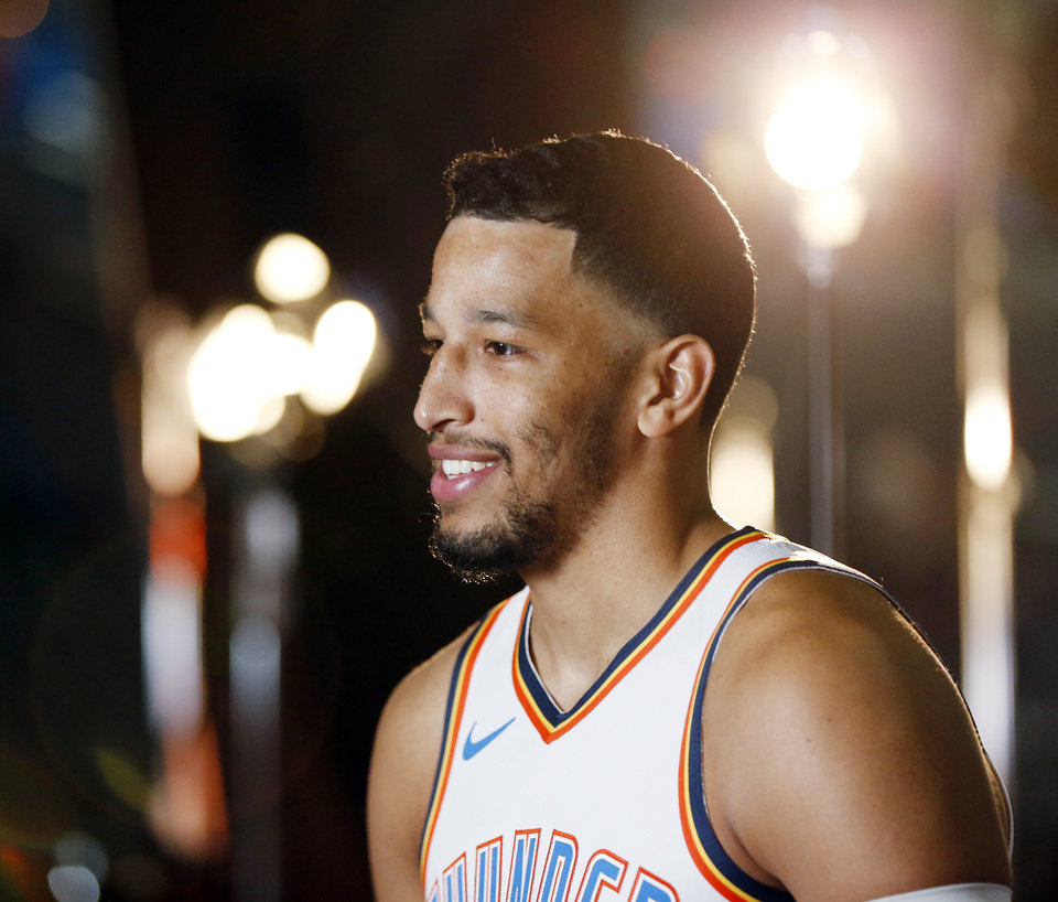 Photo - Andre Roberson gives an interview during media day for the Oklahoma City Thunder at Chesapeake Energy Arena in Oklahoma City, Monday, Sept. 24, 2018. Photo by Nate Billings, The Oklahoman