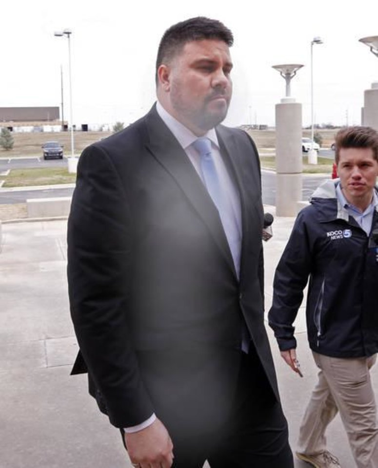 Photo - Senator Ralph Shortey arrives at the Cleveland County Jail on Thursday, March 16, 2017 in Norman, Okla.  Photo by Steve Sisney, The Oklahoman
