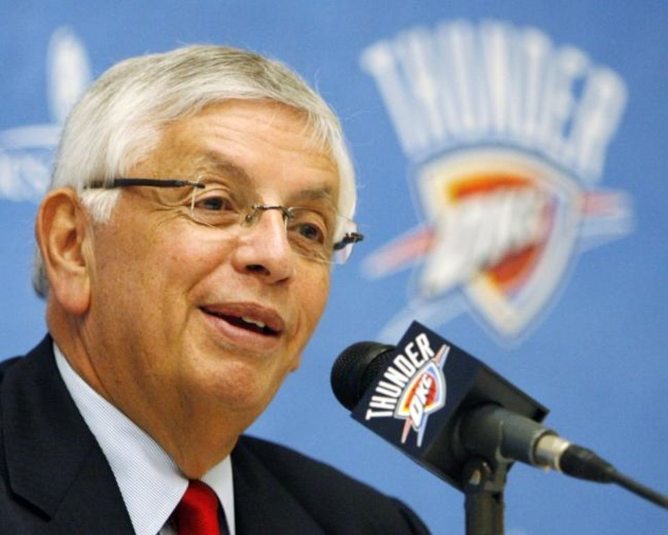Photo -  NBA commissioner David Stern speaks to the media before the Thunder's regular-season debut against the Bucks on Oct. 29, 2008 in Oklahoma City. [NATE BILLINGS/THE OKLAHOMAN]