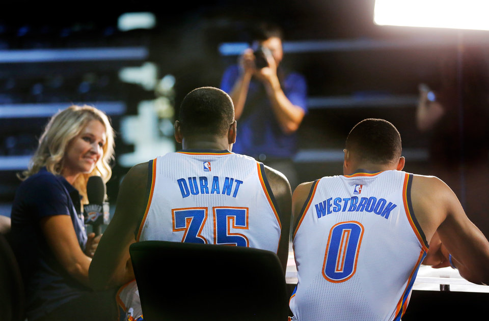 Photo - Billy Donovan is looking to expand the minutes of Russell Westbrook and Kevin Durant as the preseason continues. Photo by Jim Beckel, The Oklahoman