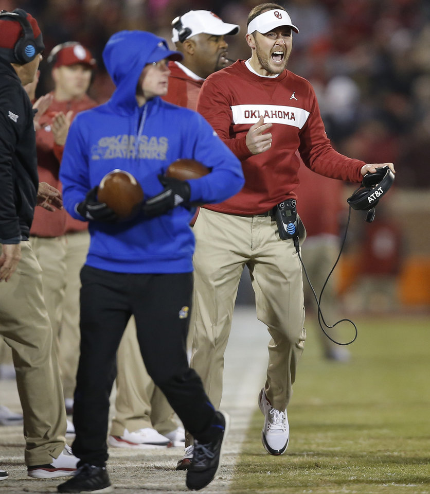 Photo - Oklahoma coach Lincoln Riley reacts during a college football game between the University of Oklahoma Sooners (OU) and the Kansas Jayhawks (KU) at Gaylord Family-Oklahoma Memorial Stadium in Norman, Okla., Saturday, Nov. 17, 2018. Photo by Bryan Terry, The Oklahoman