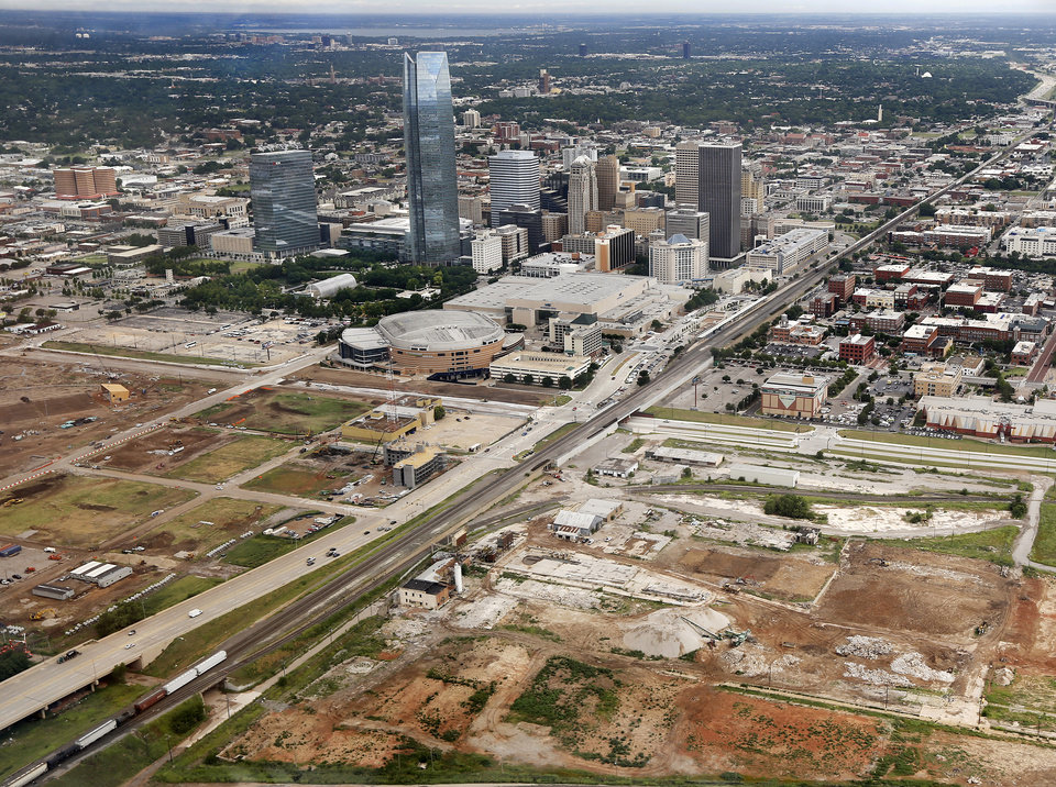Photo -  The area south of the Central Business District referred to as Core to Shore resembles downtown during the 1970s era of Urban Renewal. [Photo by Jim Beckel, The Oklahoman]