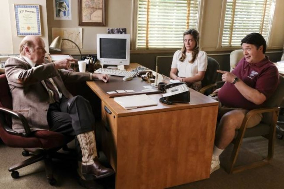 Photo -  Principal Petersen (Rex Linn), Mary (Zoe Perry) and George Sr. (Lance Barber) appear in a scene from the CBS series