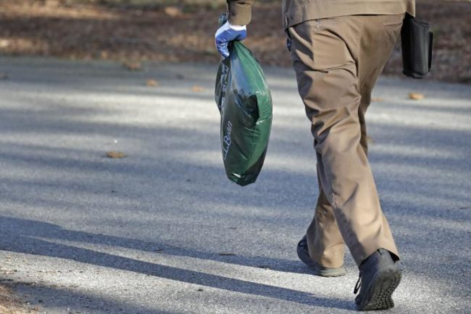 Photo -  A UPS man carries a package for delivery at a residence in North Andover, Mass. [AP PHOTO]