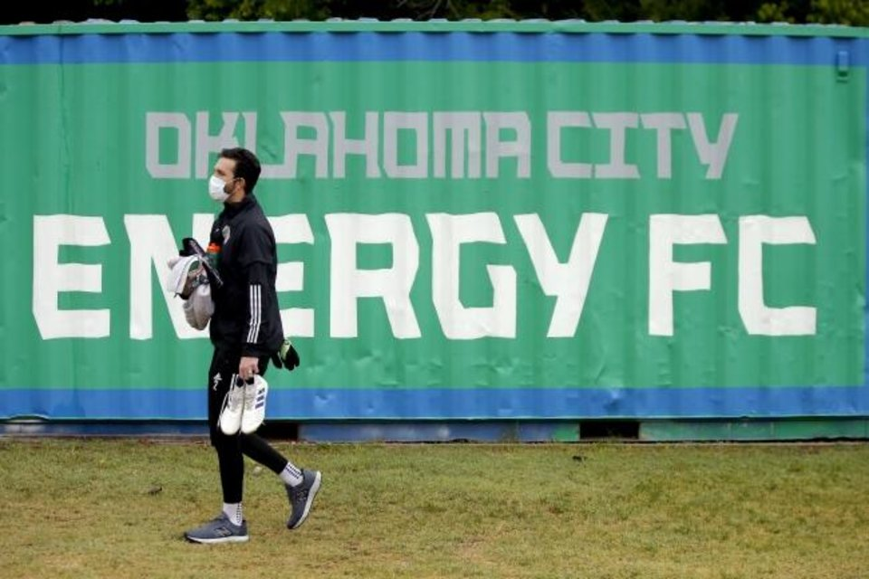 Photo -  CJ Cochran with OKC Energy FC arrives for soccer practice on Wednesday. [Bryan Terry/The Oklahoman]