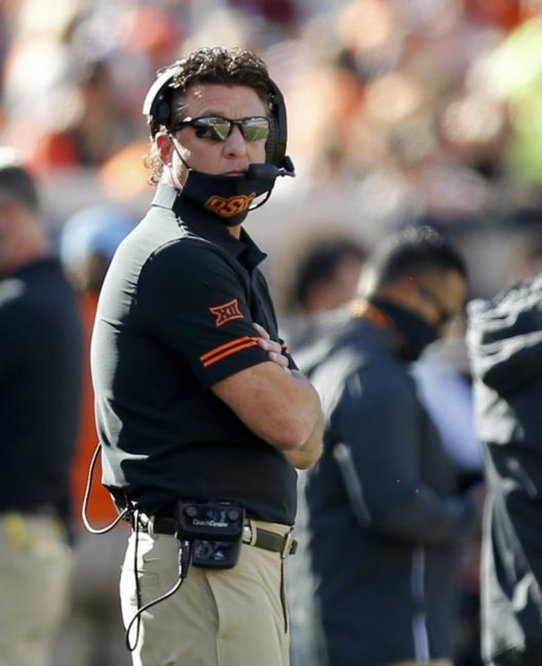 Photo -  Oklahoma State head coach Mike Gundy said a few weeks ago he didn't have detailed plans for what would happen if he was sidelined by COVID-19. But he suspects there will come a time this season when he'll need one. [Sarah Phipps/The Oklahoman]