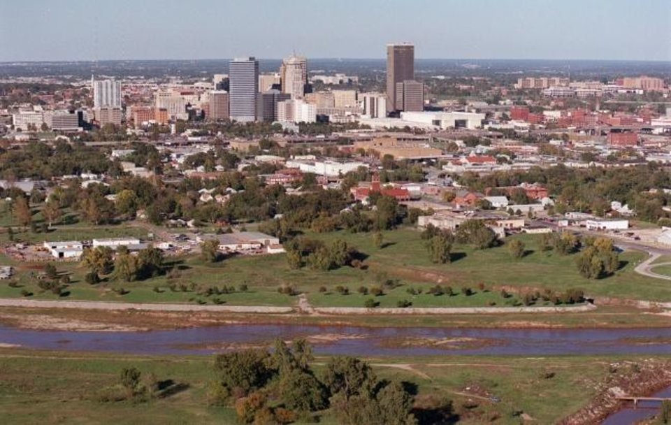 Photo -  The Oklahoma River was often a dry drainage ditch and the area south of Reno Avenue was blighted prior to a transformation that started with the original MAPS and continued with MAPS 3. [The Oklahoman Archives]