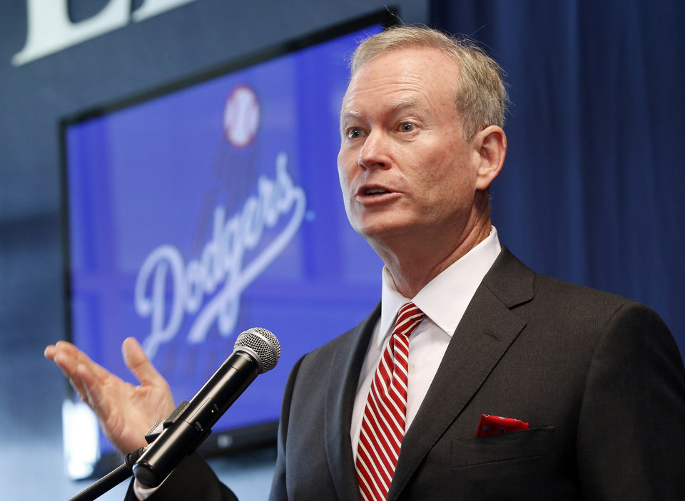 Photo - Oklahoma City Mayor Mick Cornett speaks with the media during a news conference to announce that the Los Angeles Dodgers have bought a stake in the Oklahoma City RedHawks, which will now be the Triple-A affiliate of the Dodgers, at the Chickasaw Bricktown Ballpark in Oklahoma City, Wednesday, Sept. 17, 2014. Photo by Nate Billings, The Oklahoman