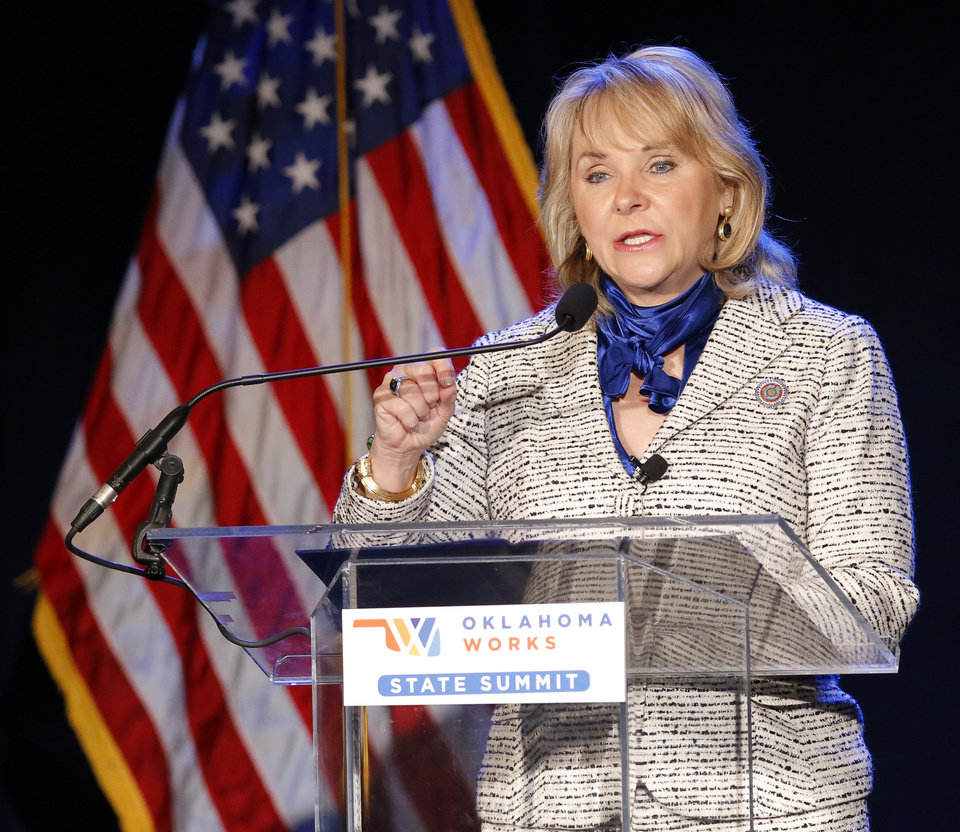 Photo -  Gov. Mary Fallin speaks Thursday during the Oklahoma Works Summit at the Cox Convention Center. [Photo by Doug Hoke, The Oklahoman]