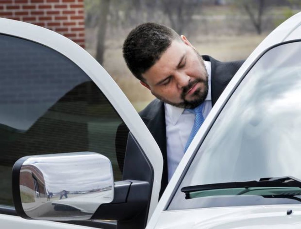 Photo -  Ralph Shortey leaves the Cleveland County Detention Center in Norman on March 16 after posting bail. [Photo by Steve Sisney, The Oklahoman]