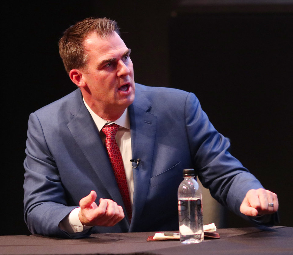 Photo - Kevin Stitt talks during The Oklahoman's Gubernatorial Forum at the Oklahoma City Museum of Art, Monday, September, 24, 2018.  Photo by Doug Hoke, The Oklahoman