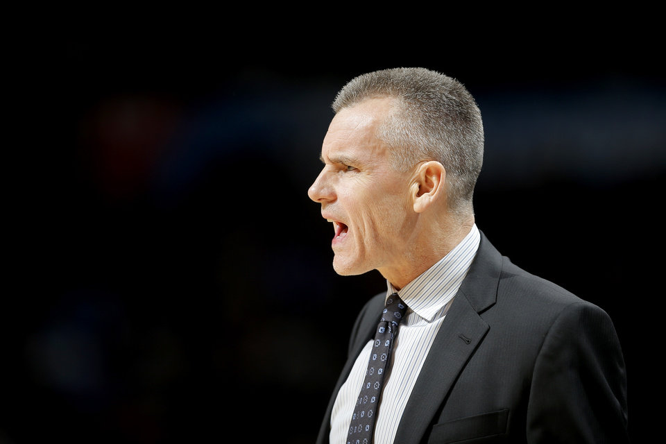 Photo - Oklahoma City coach Billy Donovan shouts during an NBA basketball game between the Oklahoma City Thunder and the New Orleans Pelicans at Chesapeake Energy Arena in Oklahoma City, Thursday, Jan. 24, 2019. Photo by Bryan Terry, The Oklahoman