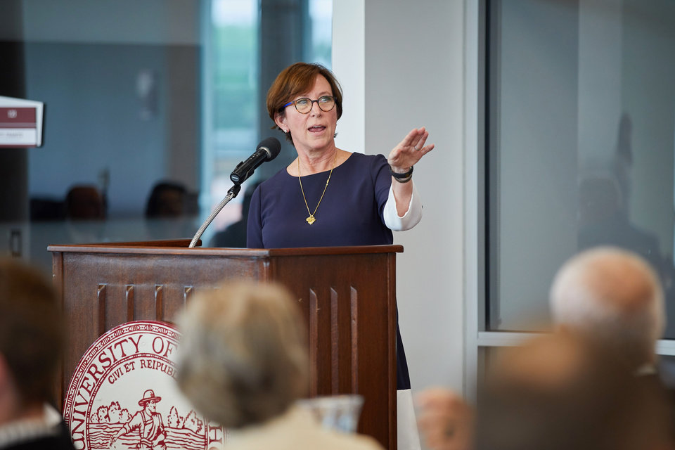 Photo - OU Regents Vice Chairman Leslie Rainbolt-Forbes kicks off the luncheon. PHOTO BY TRAVIS CAPERTON
