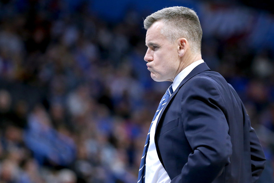 Photo - Oklahoma City's Billy Donovan reacts during NBA basketball game between the Oklahoma City Thunder and the Detroit Pistons at the Chesapeake Energy Arena in Oklahoma City, Friday, Feb. 7, 2020.  [Sarah Phipps/The Oklahoman]