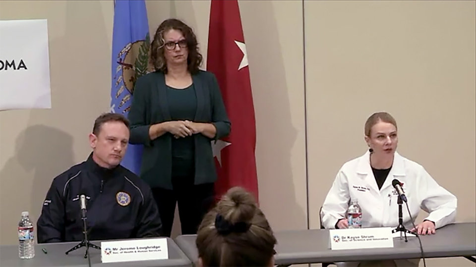 Photo - Dr. Kayse Shrum, Oklahoma Secretary of Science and Innovation, speaks. Gov. Kevin Stitt announced Sunday he will expand a gubernatorial task force to enhance the stateÕs response to the COVID-19 pandemic. Still frame from Facebook Live feed