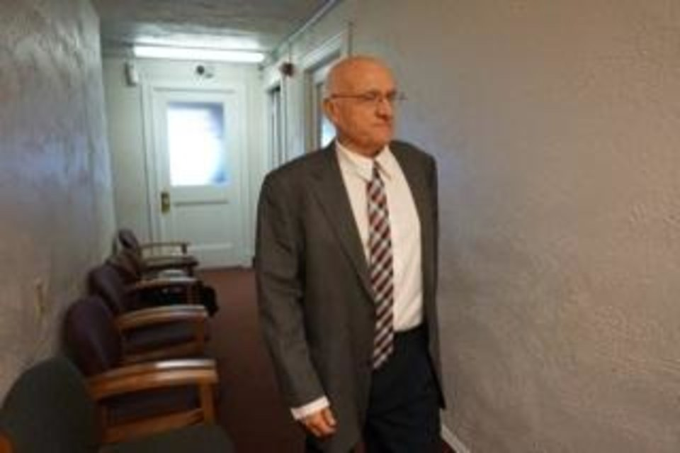 Photo -  Former Peckham Superintendent Gary Young at the Kay County Courthouse. [Jordan Green/Blackwell Journal-Tribune]