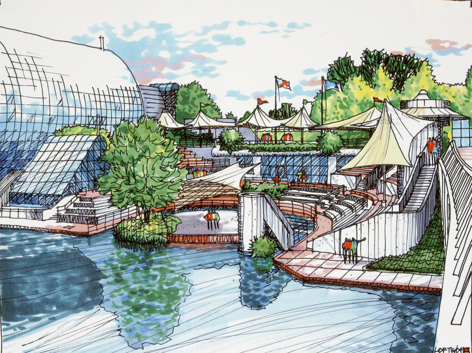 Drawing Architect Rendering Of The Proposed Renovations To Myriad Botanical Gardens Water Stage Wednesday