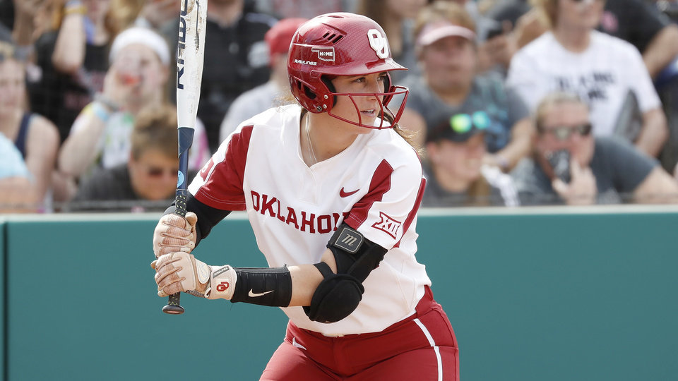 Photo - Oklahoma first baseman Grace Green #21 during an NCAA softball game on Friday, Feb.15, 2019 in Clearwater, Fla. (AP Photo/Casey Brooke Lawson)