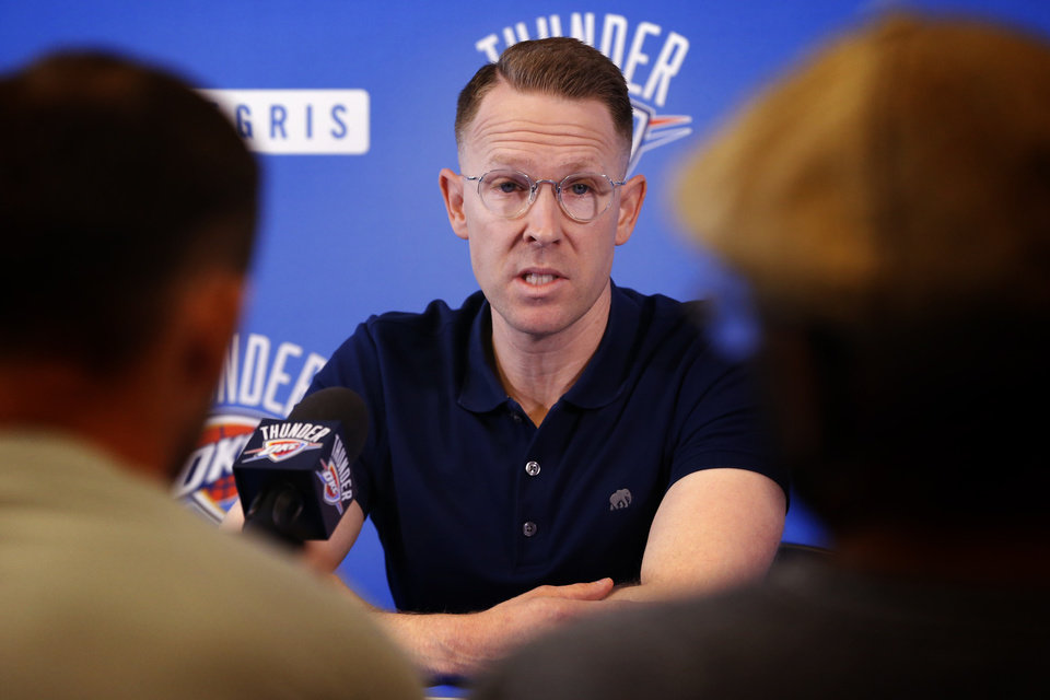 Photo -  Thunder general manager Sam Presti will likely field a team next season that will be in the NBA's luxury tax. [Photo by Steve Sisney, The Oklahoman]