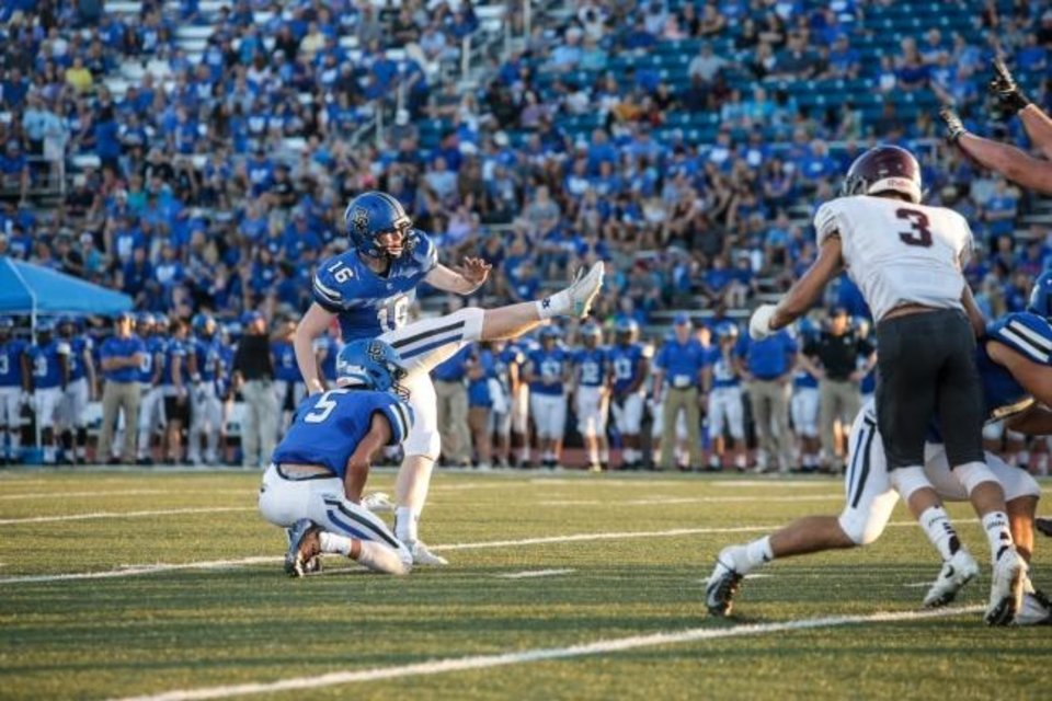 Photo -  Deer Creek kicker Logan Ward hit a game-tying 55-yard field goal last Friday against Lawton in Edmond. He later added a 22-yarder that gave the Antlers a 17-14 district victory. [PHOTO PROVIDED]
