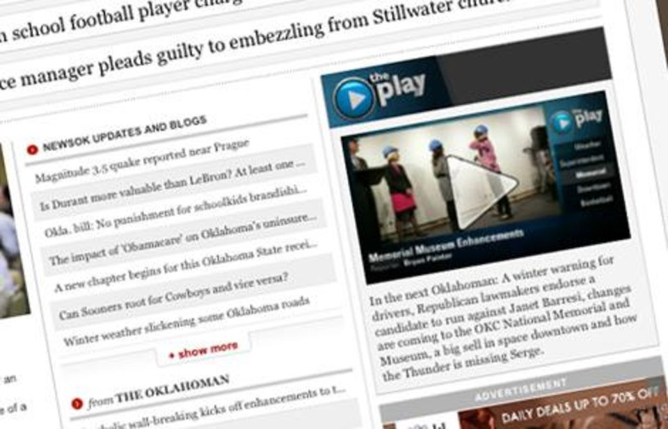 Photo -  'The Play' appears at the top of the right side of the NewsOK home page every weekday evening.