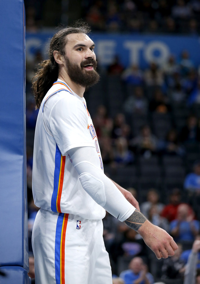Photo - Oklahoma City's Steven Adams (12) reacts after a coast-to-coast lay-up during the NBA preseason game between the Oklahoma City Thunder and the New Zealand Breakers at the Chesapeake Energy , Thursday, Oct. 10, 2019. [Sarah Phipps/The Oklahoman]