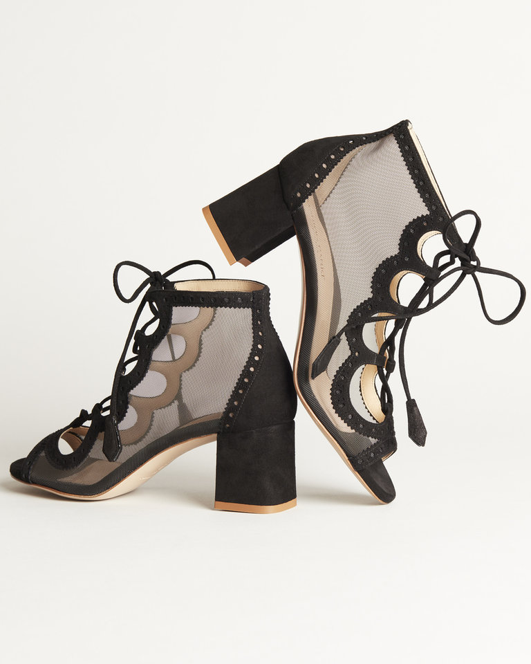 Photo -  This is Brooke, a lace-up block heel sandal with mesh design and suede menswear detailing by Marion Parke. [photo provided]