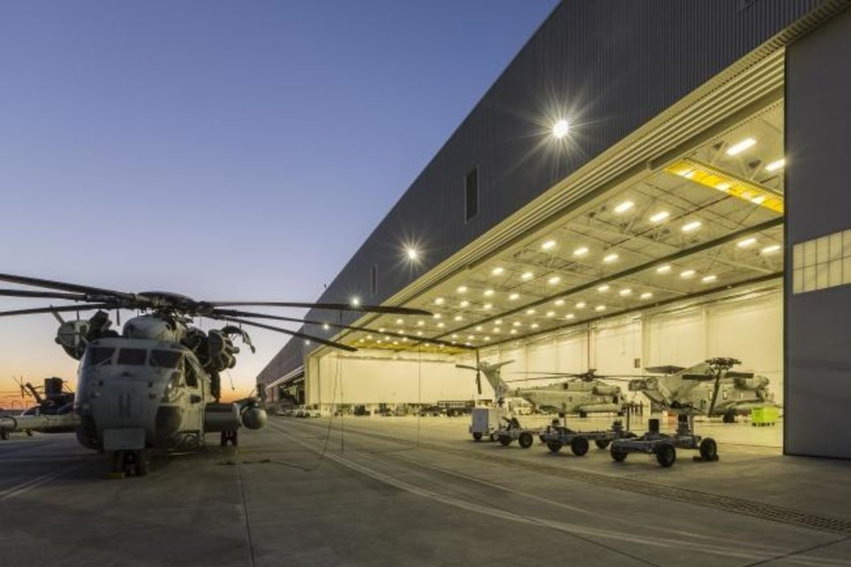 Photo -  FSB provided design-build services for the $103 million project at Marine Corps Air Station Miramar in California, which included a new two-bay hangar and renovation and expansion of a second hangar for maintenance of a fleet of MV-22 and CH-53K helicopters. It was one of numerous complex military projects taken on by FSB in the military ramp-up after the terrorist attacks on Sept. 11, 2001. [PHOTO PROVIDED BY FSB]