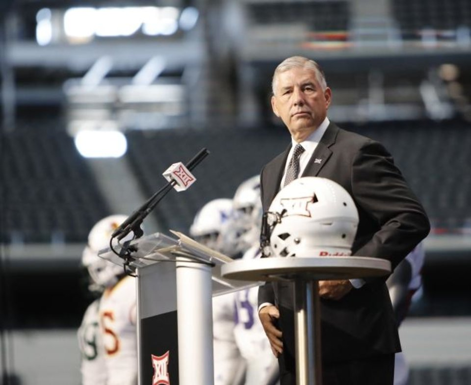 Photo -  Big 12 commissioner Bob Bowlsby said Thursday on ESPN Radio that both a conference-only and a 10-game model could be under discussion Monday when Big 12 presidents meet. [AP Photo/David Kent]