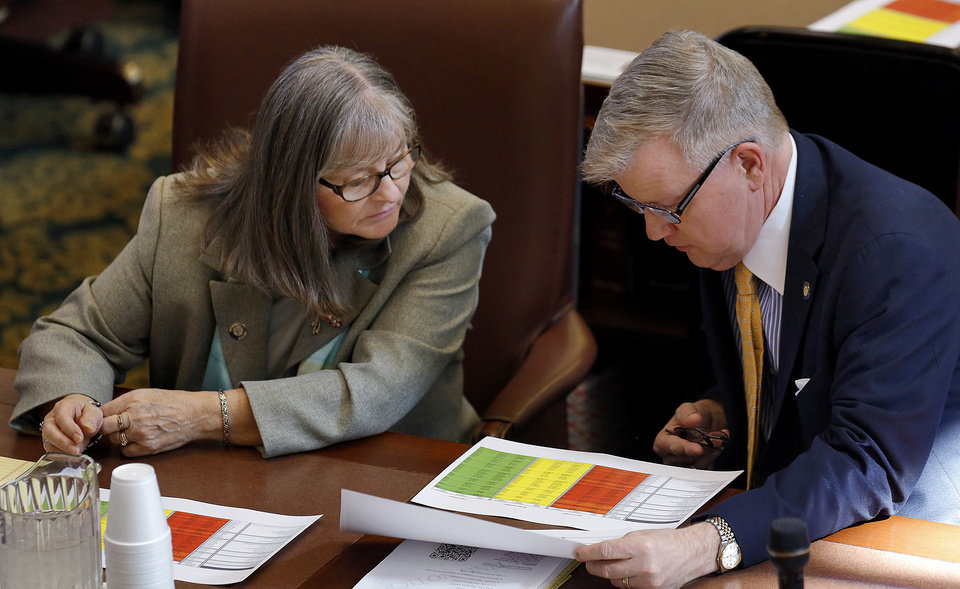 Photo - Rep. Sally Kern, left, and Rep. Caucus Chairman David Brumbaugh go over paperwork before the start of  the Oklahoma Legislature's 2016 State-of-the-State Address by Gov. Mary Fallin in the chamber of the House of Representatives at the Oklahoma state capitol on Monday, Feb. 1, 2016, in Oklahoma City, Okla. Photo by Jim Beckel, The Oklahoman