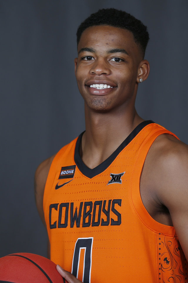 Photo - Oklahoma State guard Avery Anderson III poses for a photo during media day Tuesday, Sept. 24, 2019, in Stillwater, Okla. (AP Photo/Sue Ogrocki)