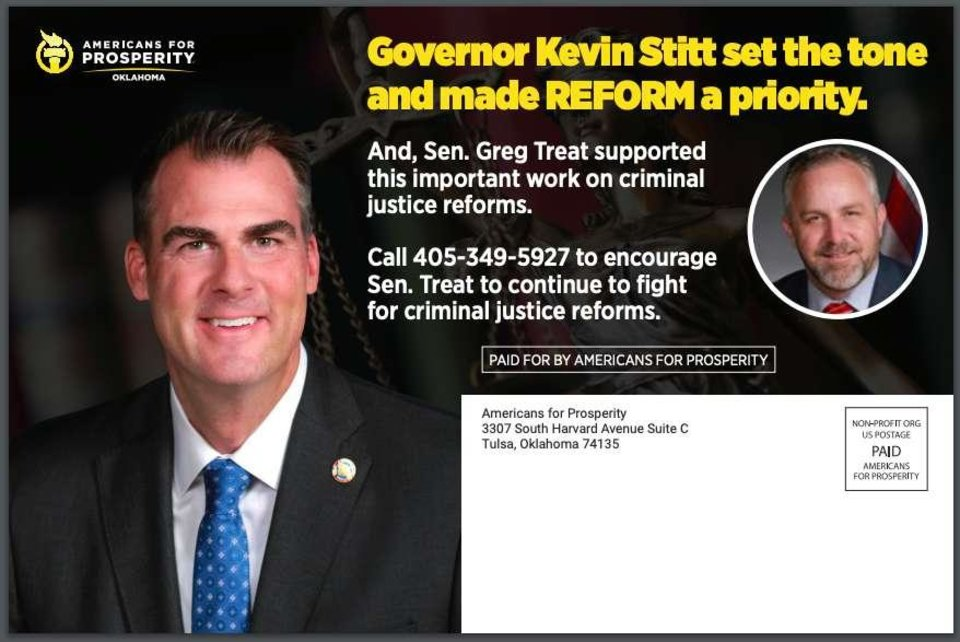 Photo - This is an example of the mailers that will be sent out in Senate Pro Tem Greg Treat's Oklahoma City-based district. Mailers sent out in other districts will look similar.