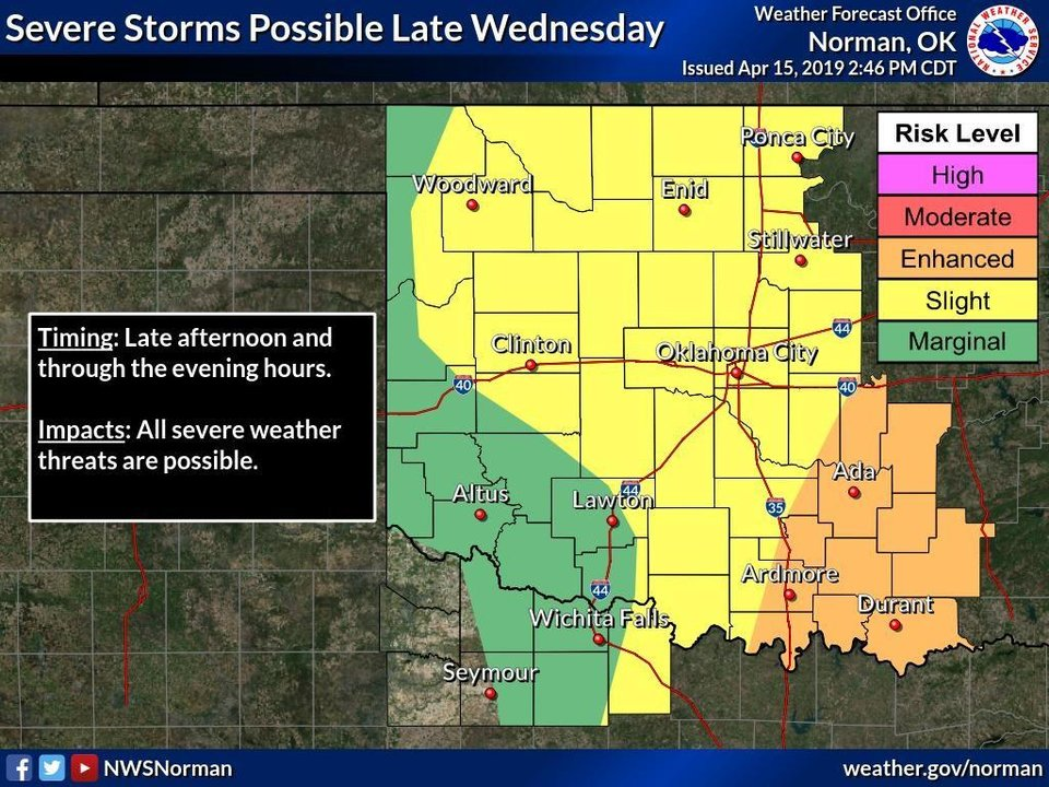 Photo -  Storms could develop late Wednesday, forecasters report. [National Weather Service image]