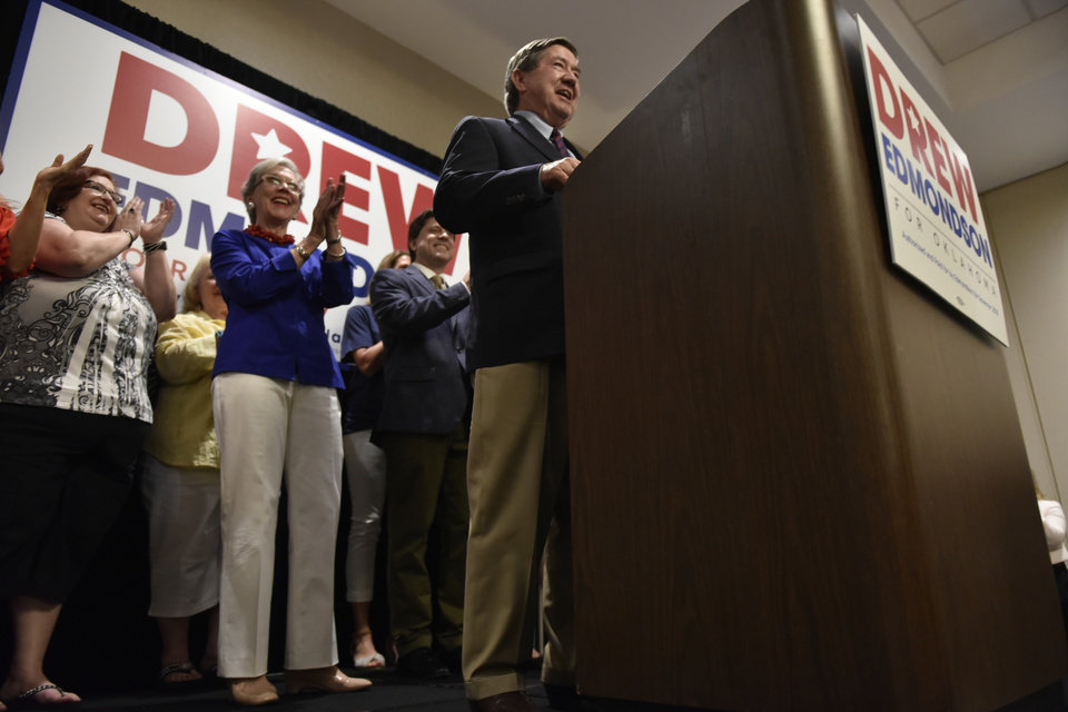 Photo - Democratic candidate for governor, Drew Edmondson, addresses supporters at his victory party in Oklahoma City on June 26, 2018. Nick Oxford for The Oklahoman